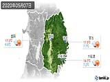 2020年05月07日の岩手県の実況天気