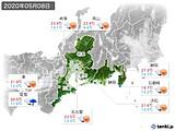 2020年05月08日の東海地方の実況天気