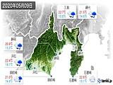2020年05月09日の静岡県の実況天気