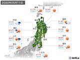 2020年05月11日の東北地方の実況天気