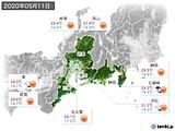 2020年05月11日の東海地方の実況天気