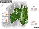 2020年05月11日の福島県の実況天気