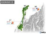 2020年05月11日の石川県の実況天気