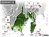 2020年05月11日の静岡県の実況天気
