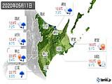 2020年05月11日の道東の実況天気