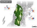 2020年05月11日の山形県の実況天気