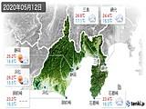 2020年05月12日の静岡県の実況天気