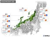2020年05月13日の北陸地方の実況天気