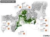 2020年05月13日の東海地方の実況天気
