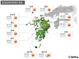2020年05月13日の九州地方の実況天気