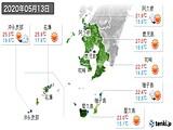 2020年05月13日の鹿児島県の実況天気