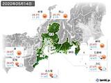 2020年05月14日の東海地方の実況天気