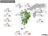 2020年05月14日の九州地方の実況天気