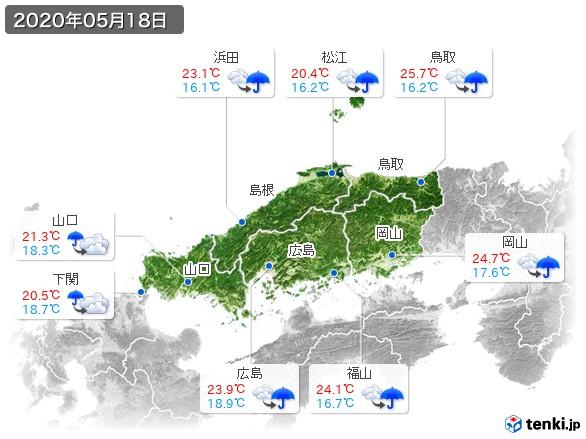 中国地方(2020年05月18日の天気
