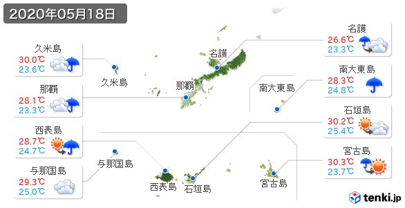 沖縄県(2020年05月18日の天気