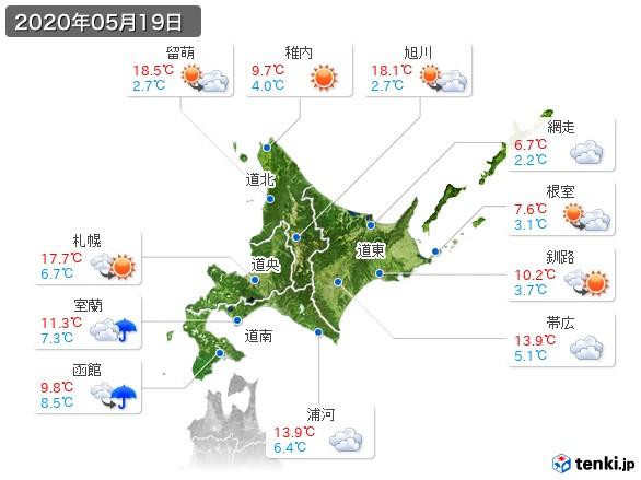 北海道地方(2020年05月19日の天気