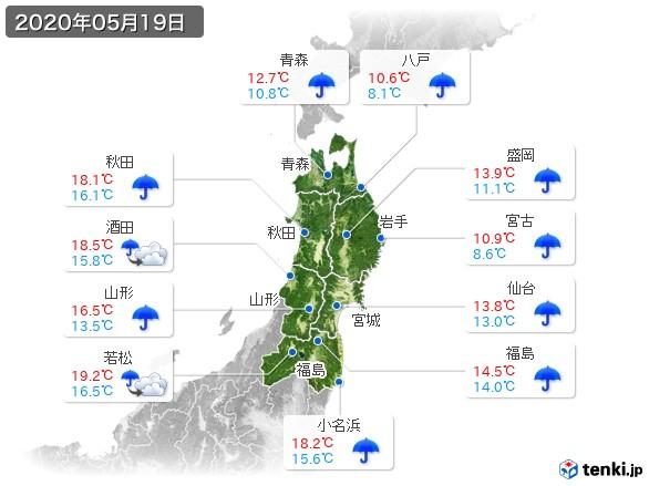 東北地方(2020年05月19日の天気