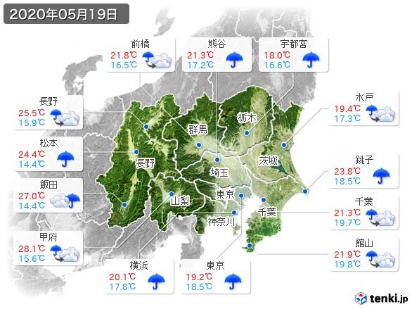 関東・甲信地方(2020年05月19日の天気