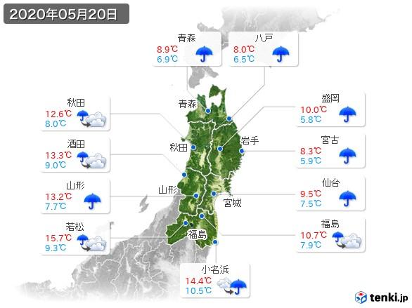 東北地方(2020年05月20日の天気