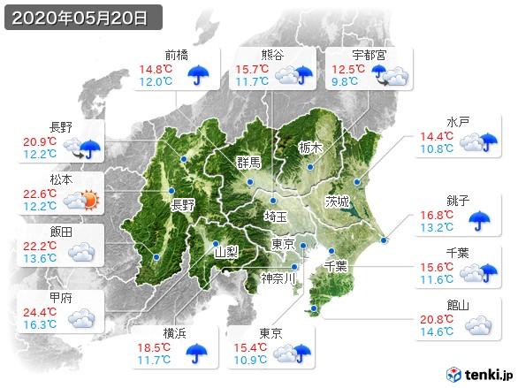 関東・甲信地方(2020年05月20日の天気