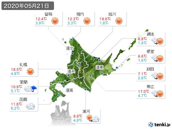 北海道地方(2020年05月21日の天気