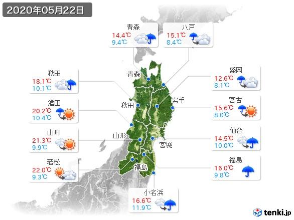 東北地方(2020年05月22日の天気