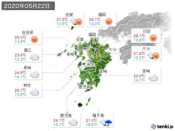 九州地方(2020年05月22日の天気