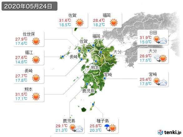 九州地方(2020年05月24日の天気