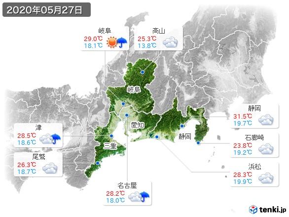 東海地方(2020年05月27日の天気