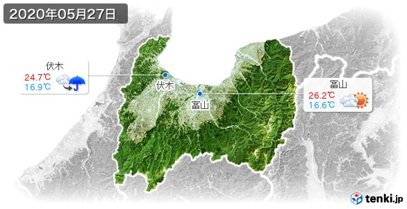 富山県(2020年05月27日の天気
