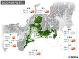 2020年05月28日の東海地方の実況天気