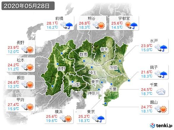 関東・甲信地方(2020年05月28日の天気