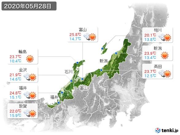 北陸地方(2020年05月28日の天気