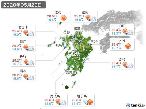 九州地方(2020年05月29日の天気
