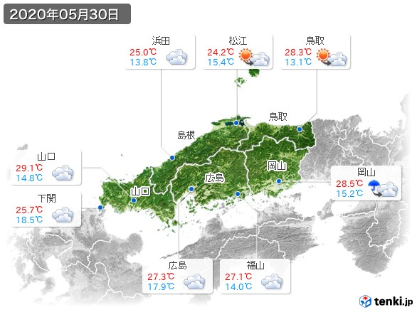 中国地方(2020年05月30日の天気