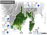 2020年06月01日の静岡県の実況天気