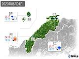 2020年06月01日の島根県の実況天気