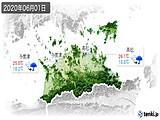 2020年06月01日の香川県の実況天気