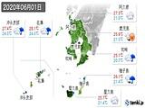 2020年06月01日の鹿児島県の実況天気
