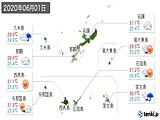 2020年06月01日の沖縄県の実況天気