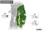 2020年06月01日の岩手県の実況天気