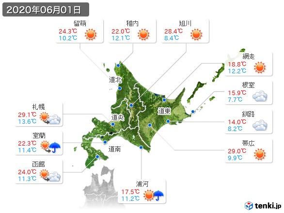 北海道地方(2020年06月01日の天気