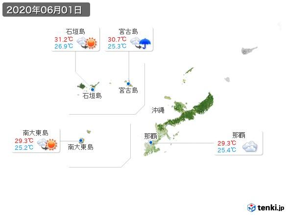 沖縄地方(2020年06月01日の天気