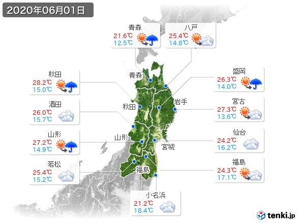 東北地方(2020年06月01日の天気