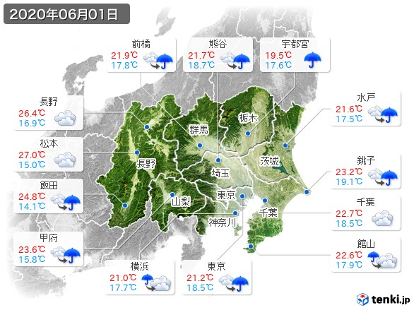 関東・甲信地方(2020年06月01日の天気