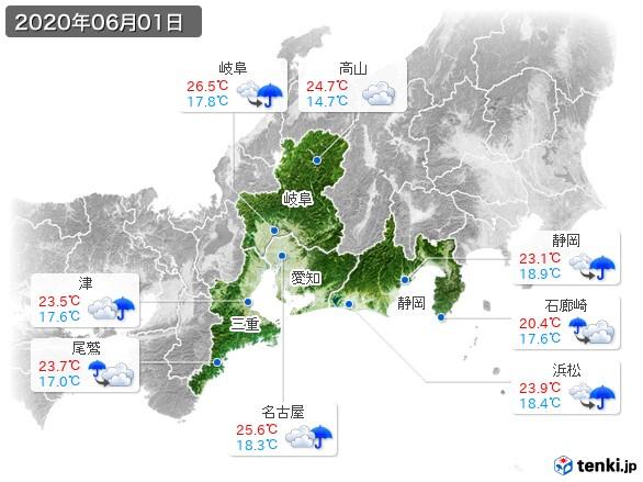 東海地方(2020年06月01日の天気
