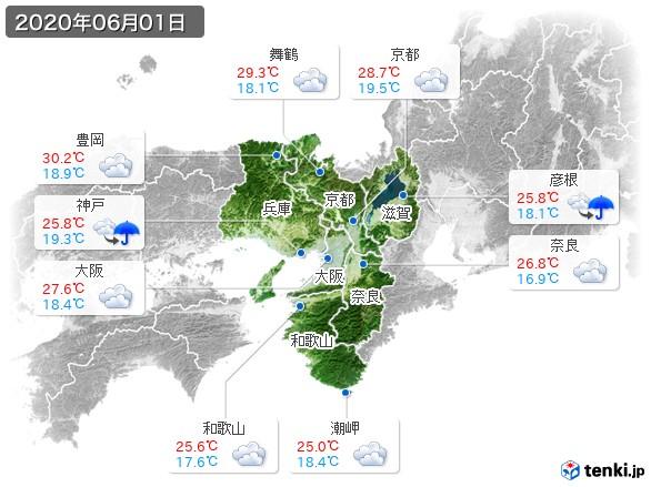 近畿地方(2020年06月01日の天気