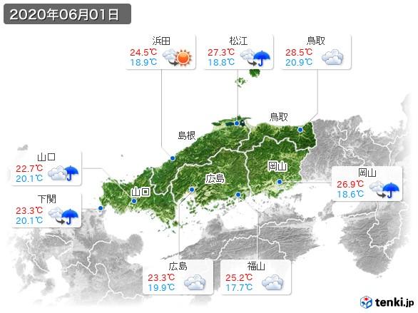 中国地方(2020年06月01日の天気