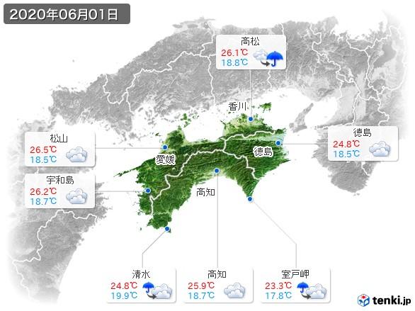 四国地方(2020年06月01日の天気