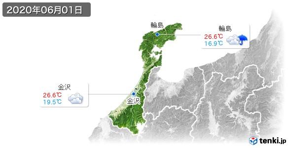 石川県(2020年06月01日の天気